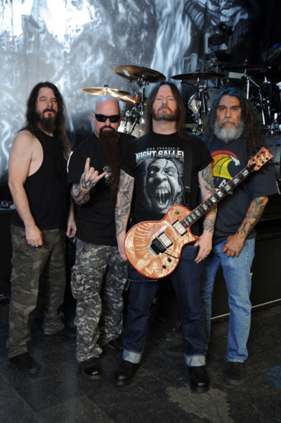 Paul Bostaph, Kerry King, Gary Holt, Tom Araya (credit: Gene Ambo)