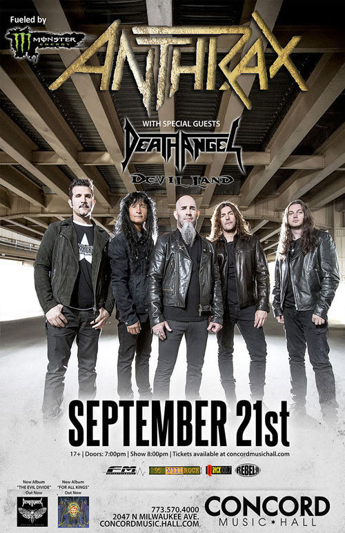 Anthrax in Chicago at Concord on September 21, 2016