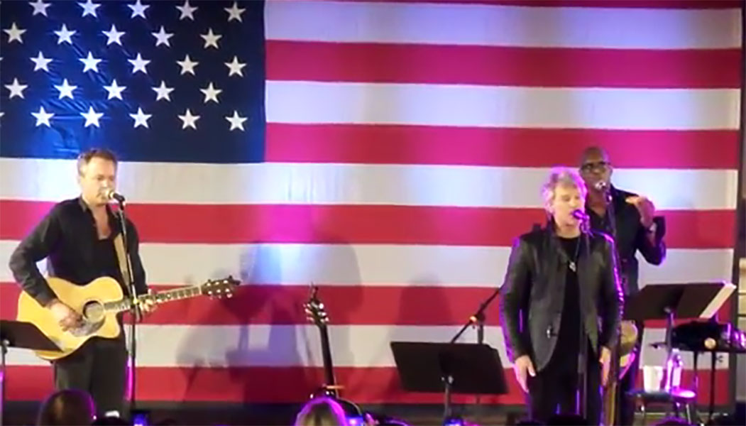 Jon Bon Jovi performs for the GOTV Concert at Soldiers and Sailors Memorial Hall and Museum in Pittsburgh PA on October 27, 2016 (credit Dan Locke)